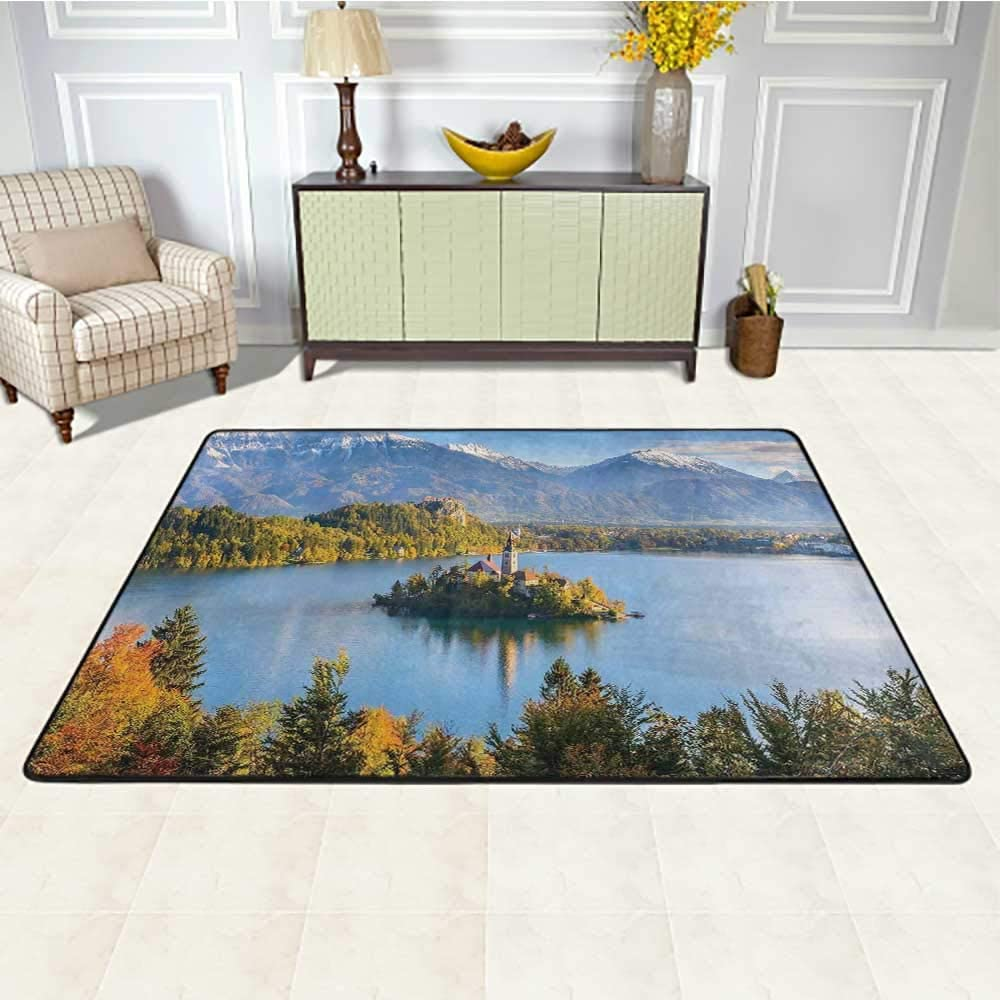 Landscape Outdoor Carpet Waterproof 3' x 5', Lake Bled Slovenia with Island in The Middle which Contains Retro Buildings Kids Carpet, Green and Blue