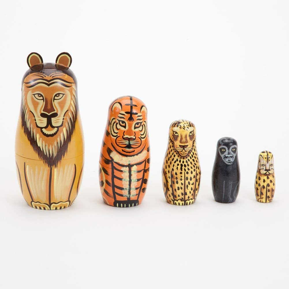 N-R RUxuean1 5Pcs/Set Hand Russian Nesting Dolls, Painted Lion Animal Wooden Matryoshka Figurines Toy Christmas Mother's Day Birthday Home Room Decoration Halloween Wishing Gift