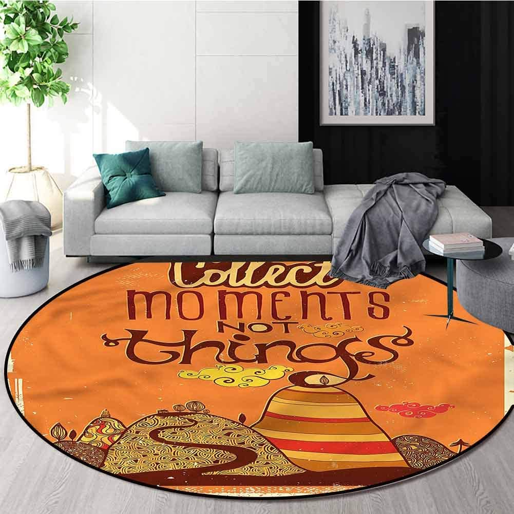 RUGSMAT Quote Non Slip Round Rugs,Abstract Hills Curvy Clouds Non-Slip Soft Floor Mat Home Decor Round-24