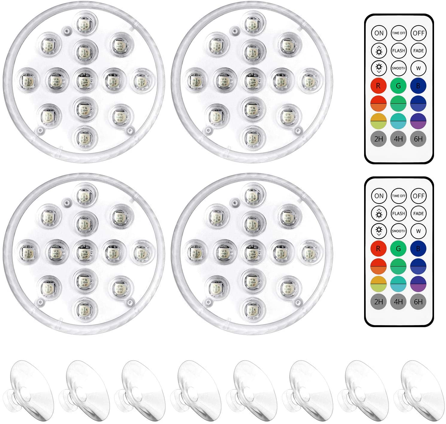 EEEKit Submersible LED Pool Lights with Magnet, Suction Cup, RF Remote, 16 Colors Waterproof Underwater Pond Lights Lamp with 13 LEDs for Aquarium, Pool, Pond, Party