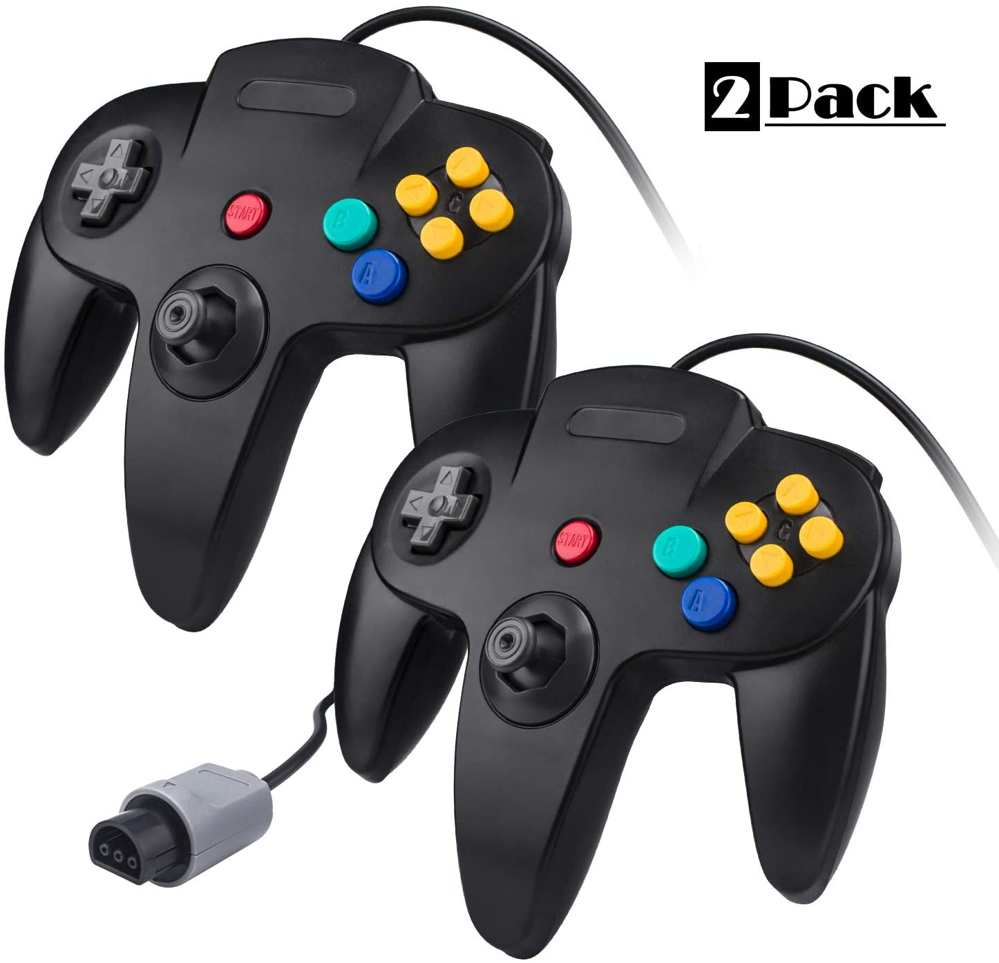 2 Pack N64 Controller, TechKen Classic Wired N64 64-bit Game Joystick Compatible with Ultra 64 Video Game Console N64 System