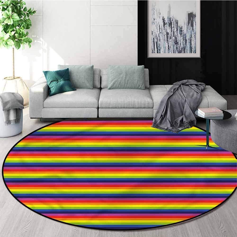 RUGSMAT Rainbow Round Kids Rugs,Horizontal Stripes Pattern Green Soft Area Rugs Round-24