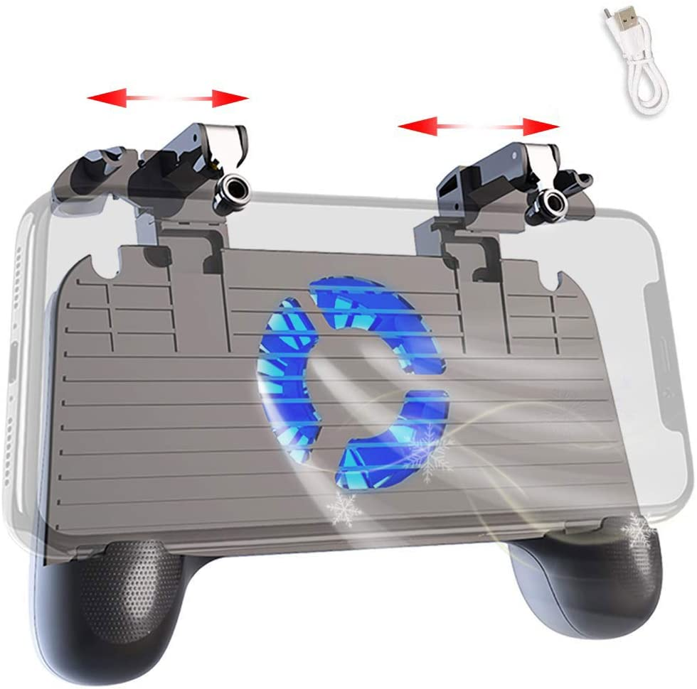 Mobile Controller with Power Bank Cooling Fan for PUβG, YONWIN L1R1 Game Trigger Joystick Gamepad Grip Remote for 4-6.5