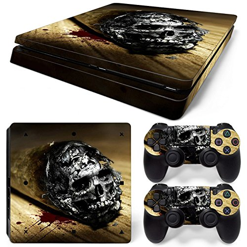 CSBC Skins Sony PS4 Slim Design Foils Faceplate Set - Cannabis Skull Design