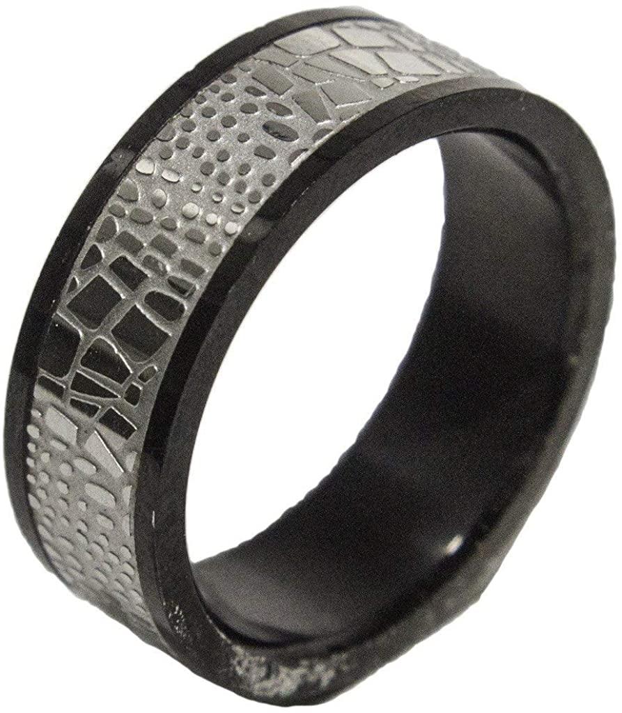 RS Covenant Men's Stainless Steel Snakeskin Print Band Dress Ring 029