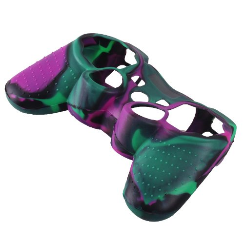 WantMall Camo Multicolor Silicone Protective Case Cover for Sony PS2 PS3 Controller - Green Purple Black