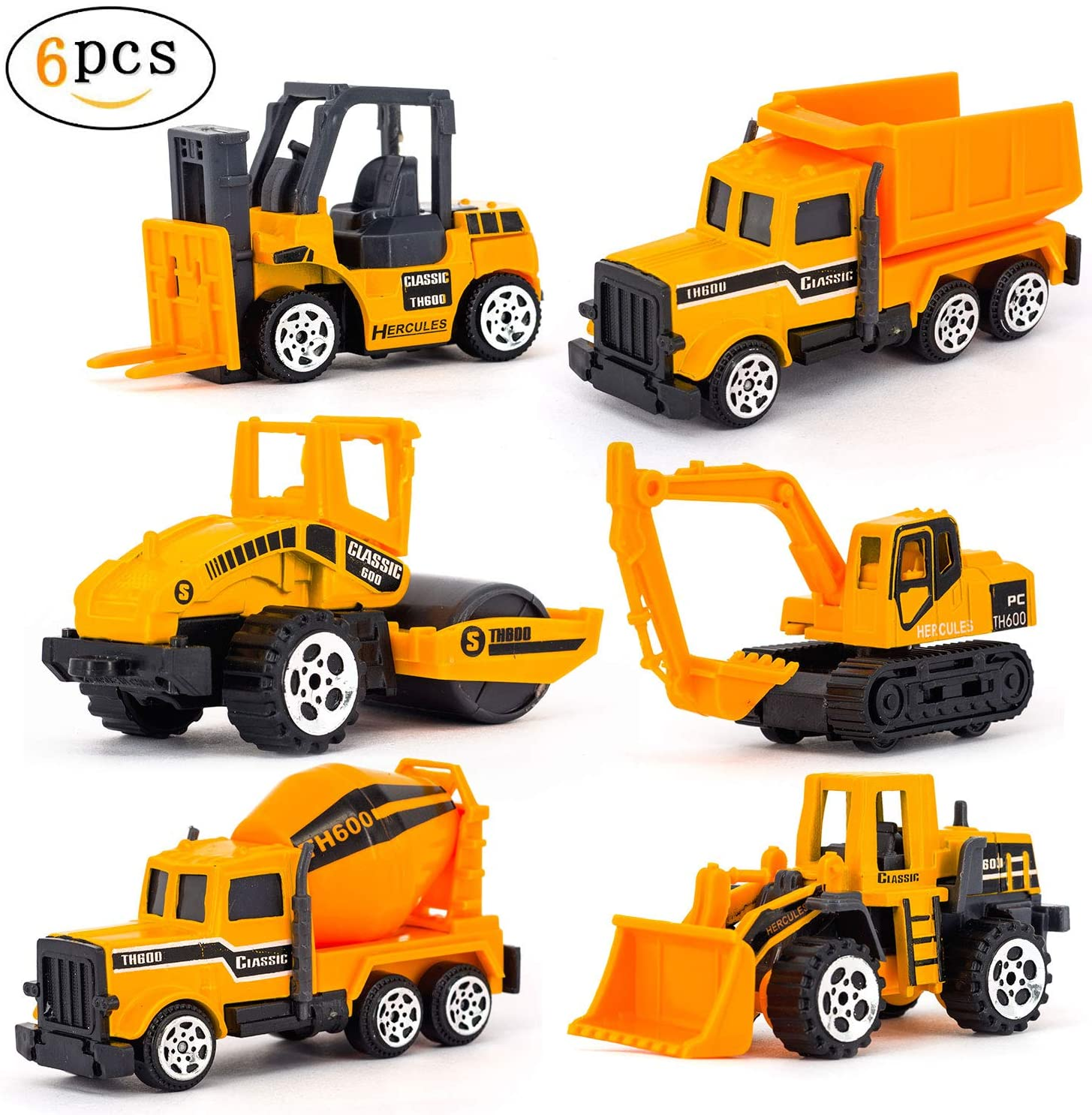 Lynkaye Construction Toys Sets 6 Pieces Mini Die-cast Engineering Vehicles for Kids,Included Dumper, Bulldozers, Forklift, Tank Truck, Asphalt Car and Excavator (Construction Truck 6 in 1)
