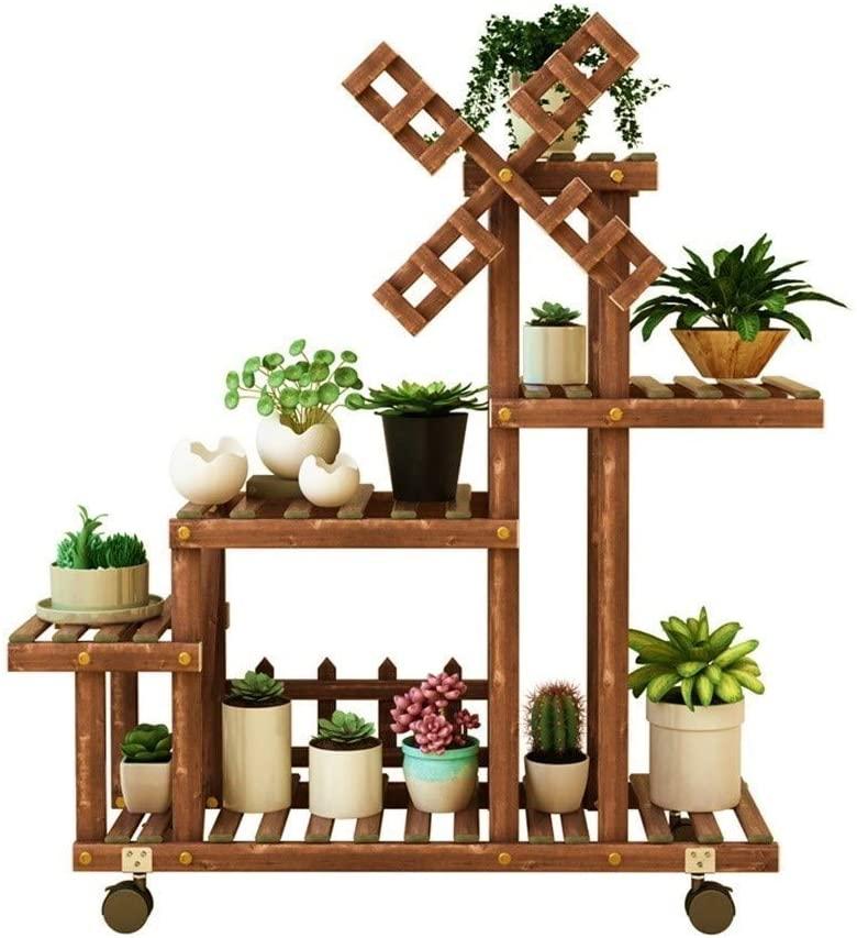 QNN Plant Stands,Pot Rack Flower Stand Wooden 6-Tier Floor-Standing Plant Display Stand with Wheel Wood Pot Shelf Storage Rack for Outdoor Indoor Decorative Flower Pots,Brown,85Cm25Cm75Cm