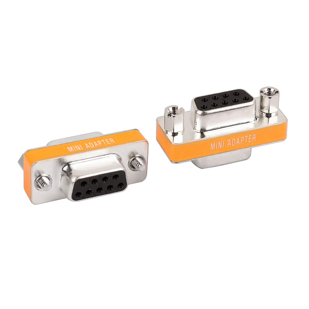 DB9 Null Modem Adapter RS232 Female to Female Serial Mini Cable Gender Changer Coupler Connector -2 Pack