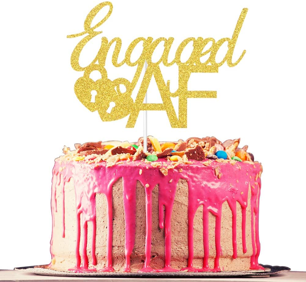 Engaged AF Cake Topper, Engagement, Bridal Shower, Bachelorette Party, Wedding Party Decoration Supplies, Gold Glitter