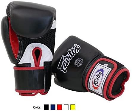 Fairtex Muay Thai Boxing Gloves BGV1 BR Breathable Black/White/Red Size: 10 oz Training Gloves for Kickboxing MMA K1