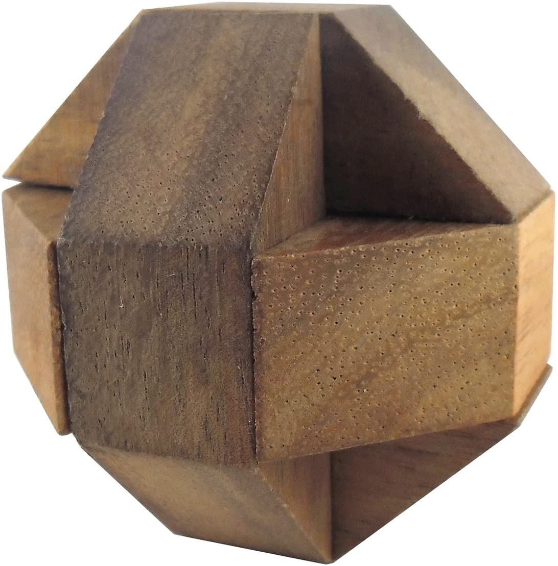 Asian Handmade Wooden Puzzles Game Ball Cube Brown Tone Color From Thailand