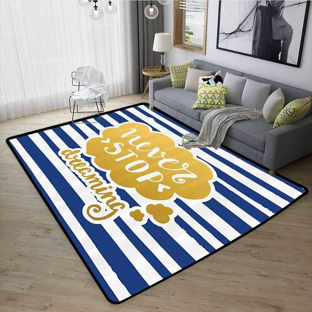 Quotes Decor Conference Room Carpet, Stylish in Design, Super Absorbent Easy Clean Rubber Back for Living Room Kids Room, W35 x L59 Gold Blue