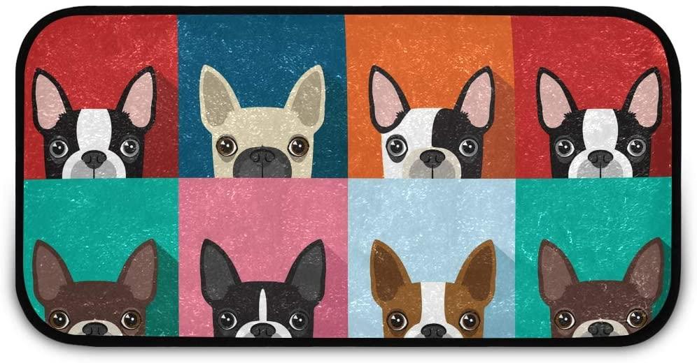 Rectangle Shaggy Rug Floor Mat for Kids Colorful Cute Dog Front Door Anti-Slip Rug Rectangle Carpet Play Mat