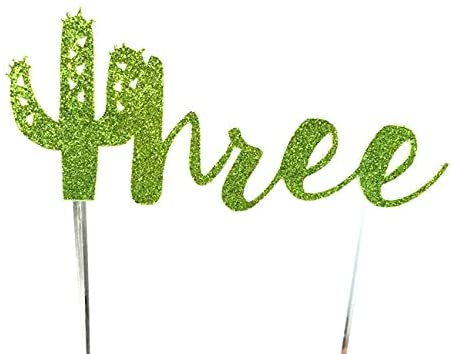 CMS Design Studio Handmade Succulent Birthday Cake Topper Decoration - Three with Cactus - Made in USA with Double Sided Gold Glitter Stock (Three Without Flowers)