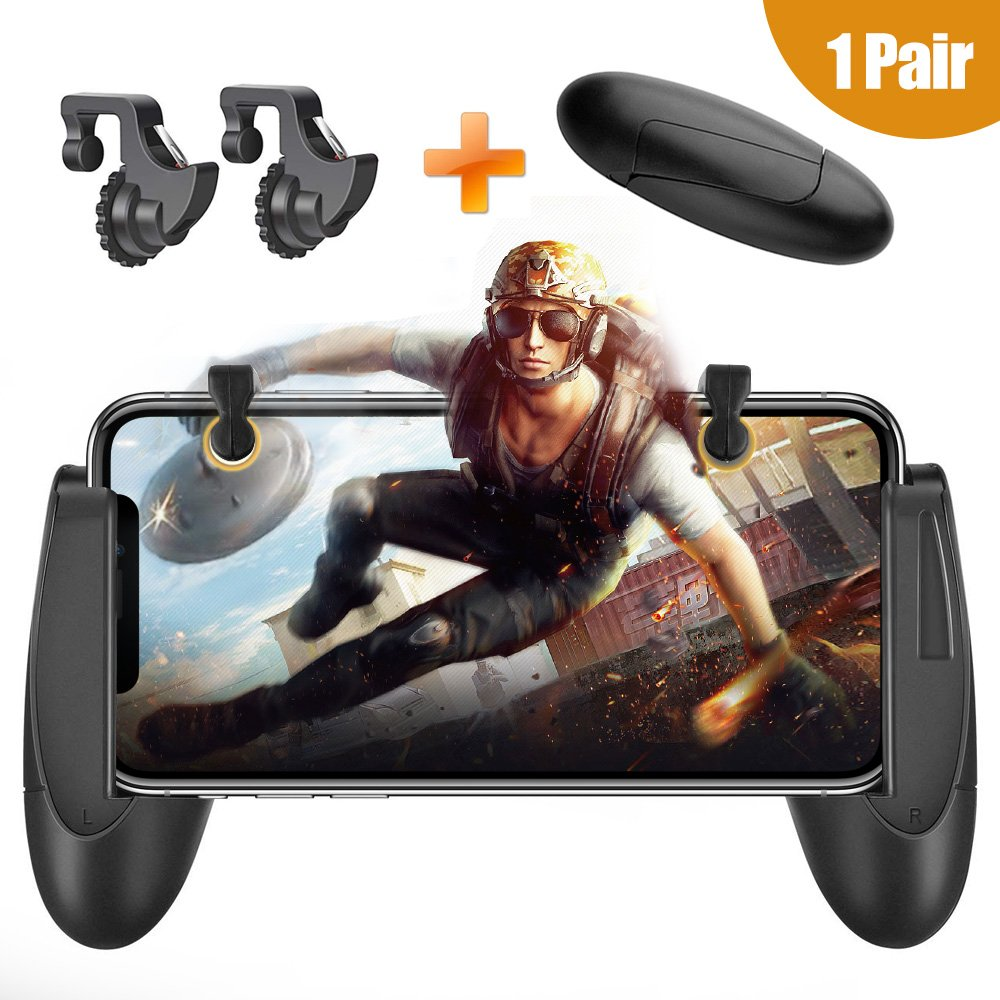 PUBG Mobile Controller - Mobile Game Controller for Pubg/Knives Out/Rules of Survival Sensitive Aim and Shoot Mobile Game Triggers and Handgrip L1R1 Fits for iphone Android 4.5-6.4inch