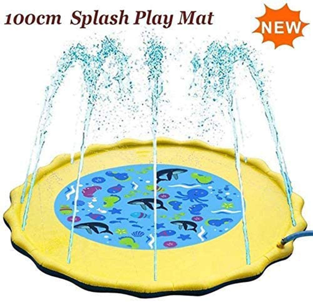AJH Splash Pad Sprinkler for Summer, Sprinkler Play Mat for Child, 100CM Water Splash Pad for Toddlers Outdoor Games Water Play Sprinklers Mat
