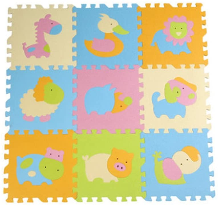NUOLUX 9pcs Cute Animal EVA Foam Play Mats Floor Puzzle Crawling Play Game Mat for Baby Kids Children Toddlers