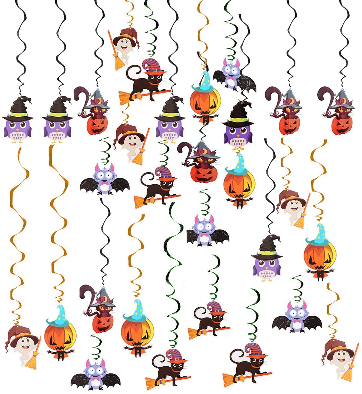 Fashionclubs Halloween Hanging Swirl Decorations, 30pcs Halloween Celling Hanging Swirl Yard Party Decorations Whirls Streamers Party Favor Supplies, Included Bats, Cat, Ghost, Pumpkin, Witch, Owl Cutouts