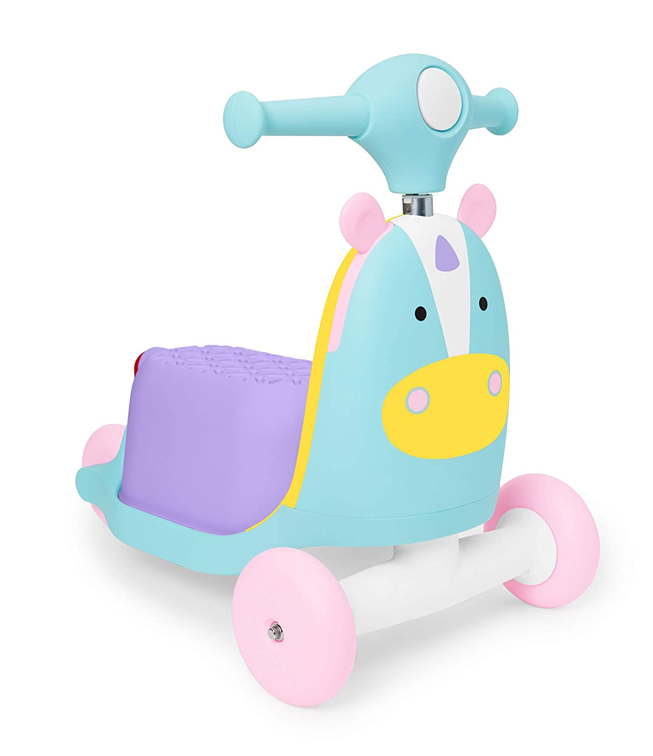 Skip Hop Kids 3-in-1 Baby Activity Push Walker & Ride On Scooter Toy, Unicorn
