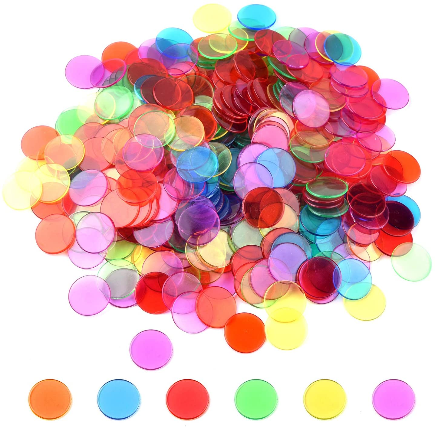 Coopay 300 Pieces Transparent Color Counters Plastic Math Counters Game Counting Bingo Chips Plastic Markers