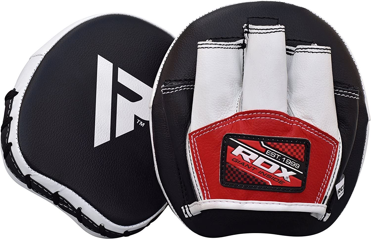RDX Boxing Pads Mini Focus Mitts, Maya Hide Leather Micro Hook and Jab Hand Pads, Smartie Strike Shield for Kickboxing, MMA, Muay Thai, Punching Target, Martial Arts, Karate Training