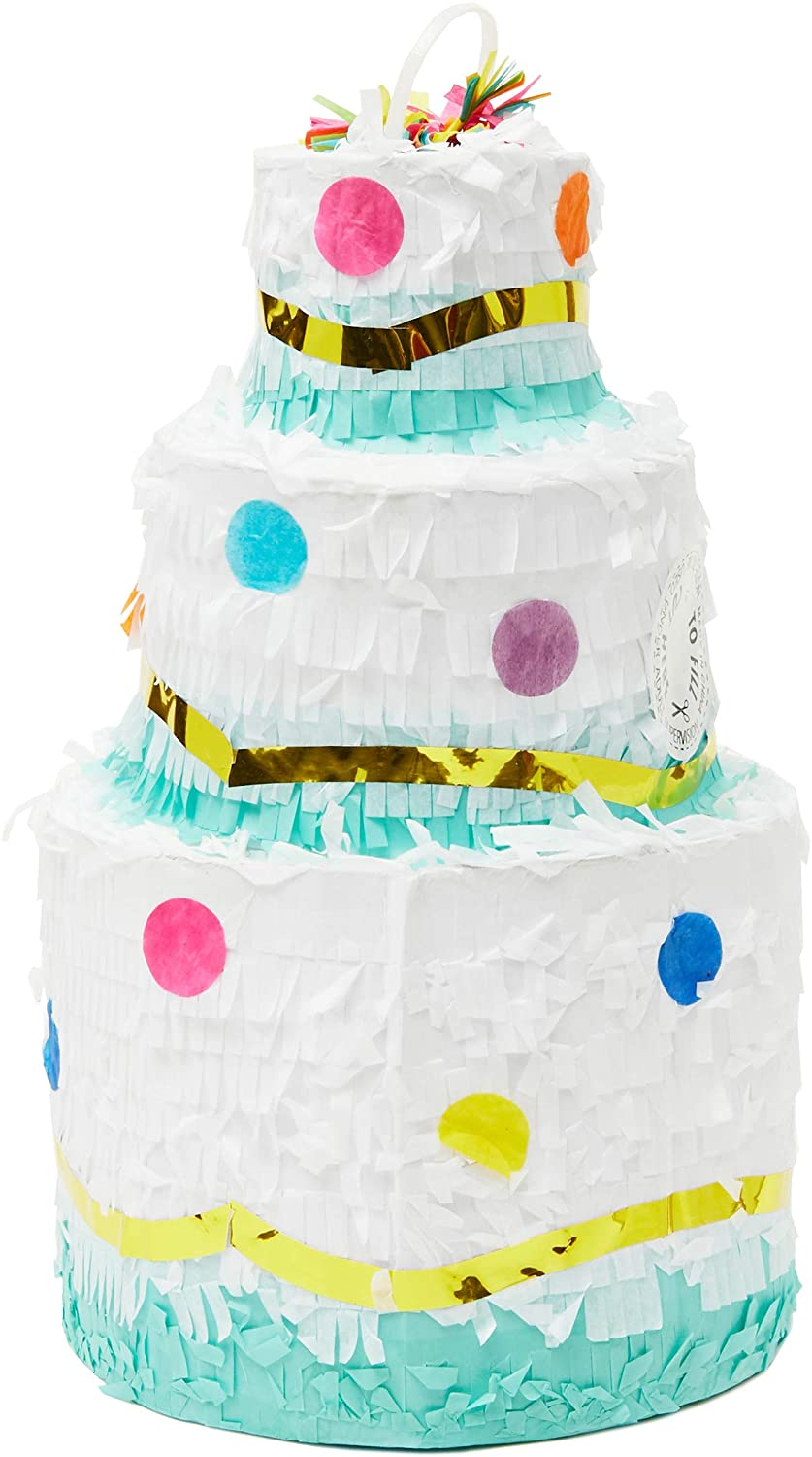 Juvale Small Birthday Cake Pinata, Party Supplies, 7 x 12 Inches