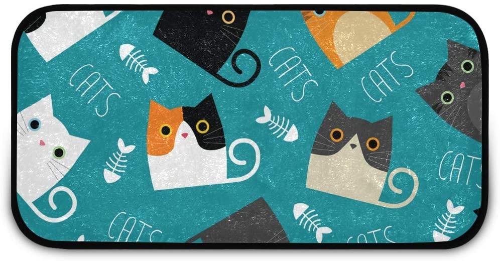 Rectangle Shaggy Rug Front Door Mat Indoor Doormat for Kids Cute Cats Kitchen Anti-Slip Rug Rectangle Carpet Play Mat