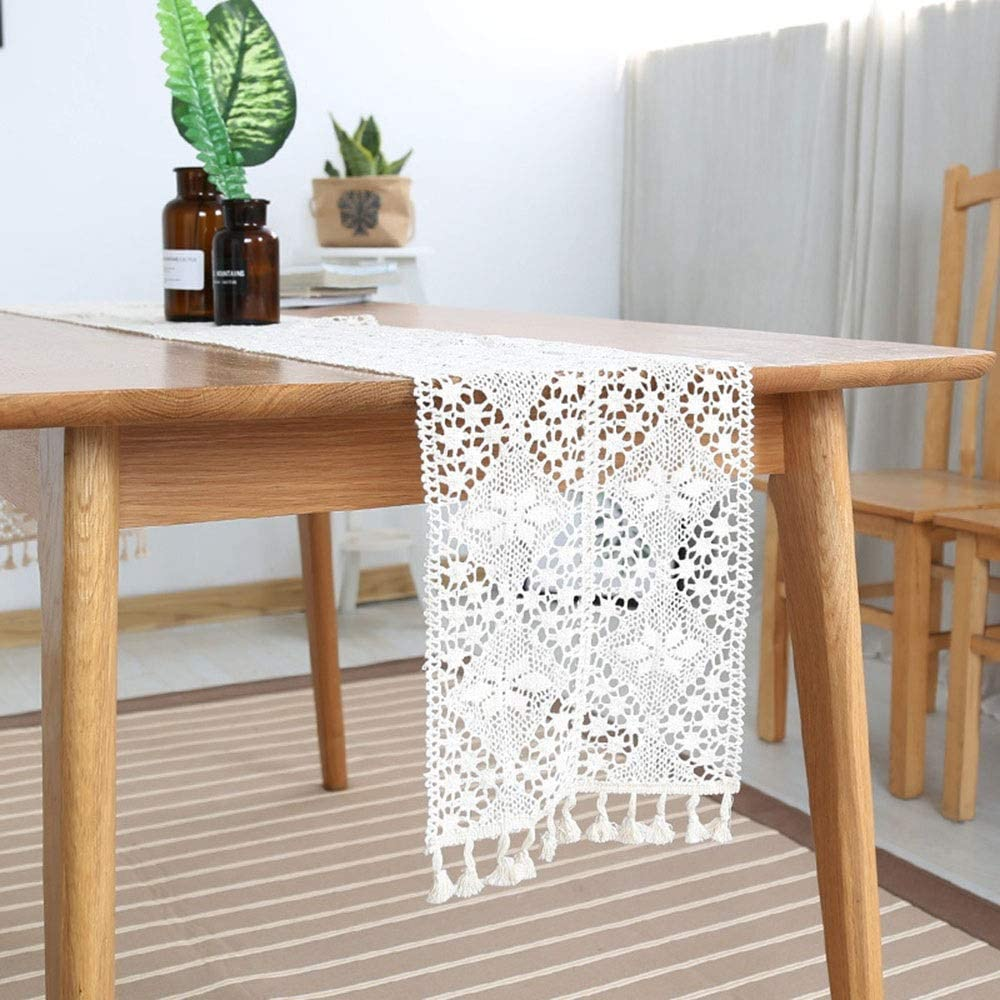 Washable table mat White Lace Table Runner For Rustic Boho Wedding Bridal Shower Party Decor Heat-resistant anti-slip non-slip table mat (Color : White, Size : 10''x55'')