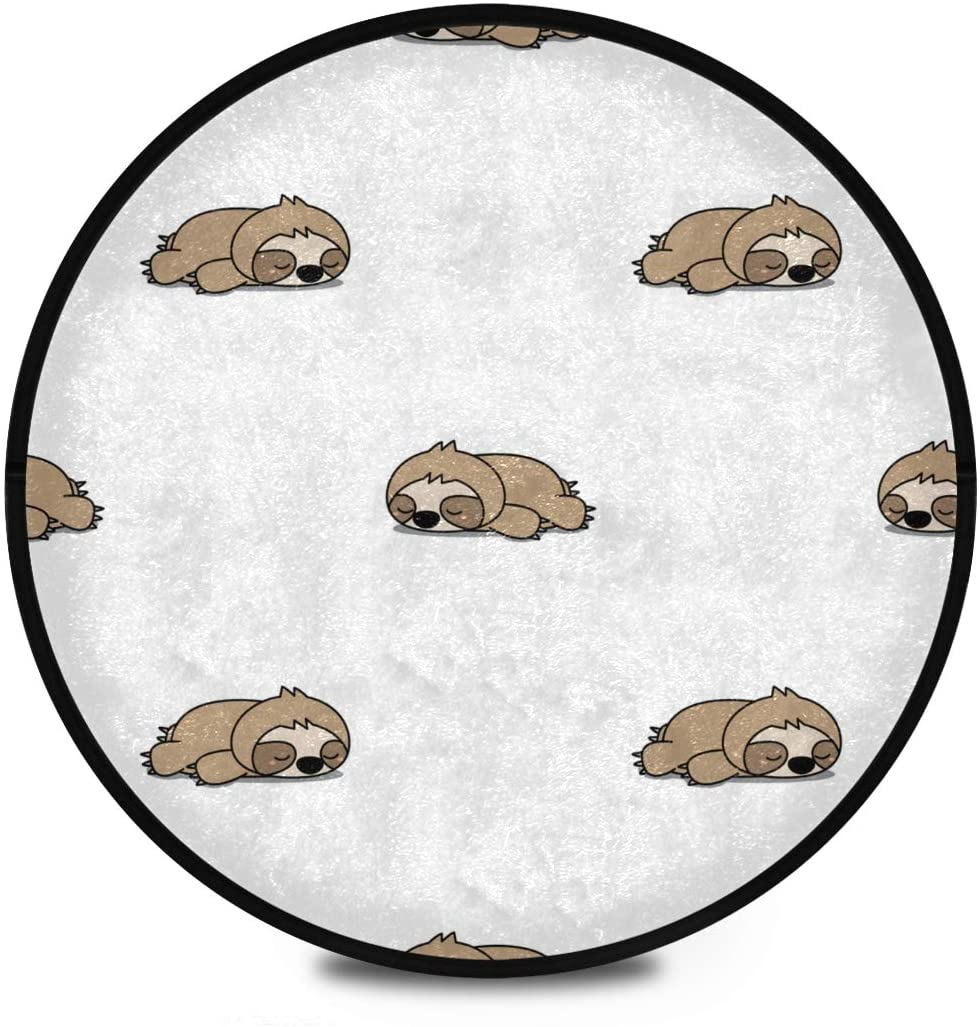 Shaggy Round Mat Cute Sloth Sleeping Pattern Round Area Rug for Kids Bathroom Anti-Slip Rug Room Carpets Play Mat