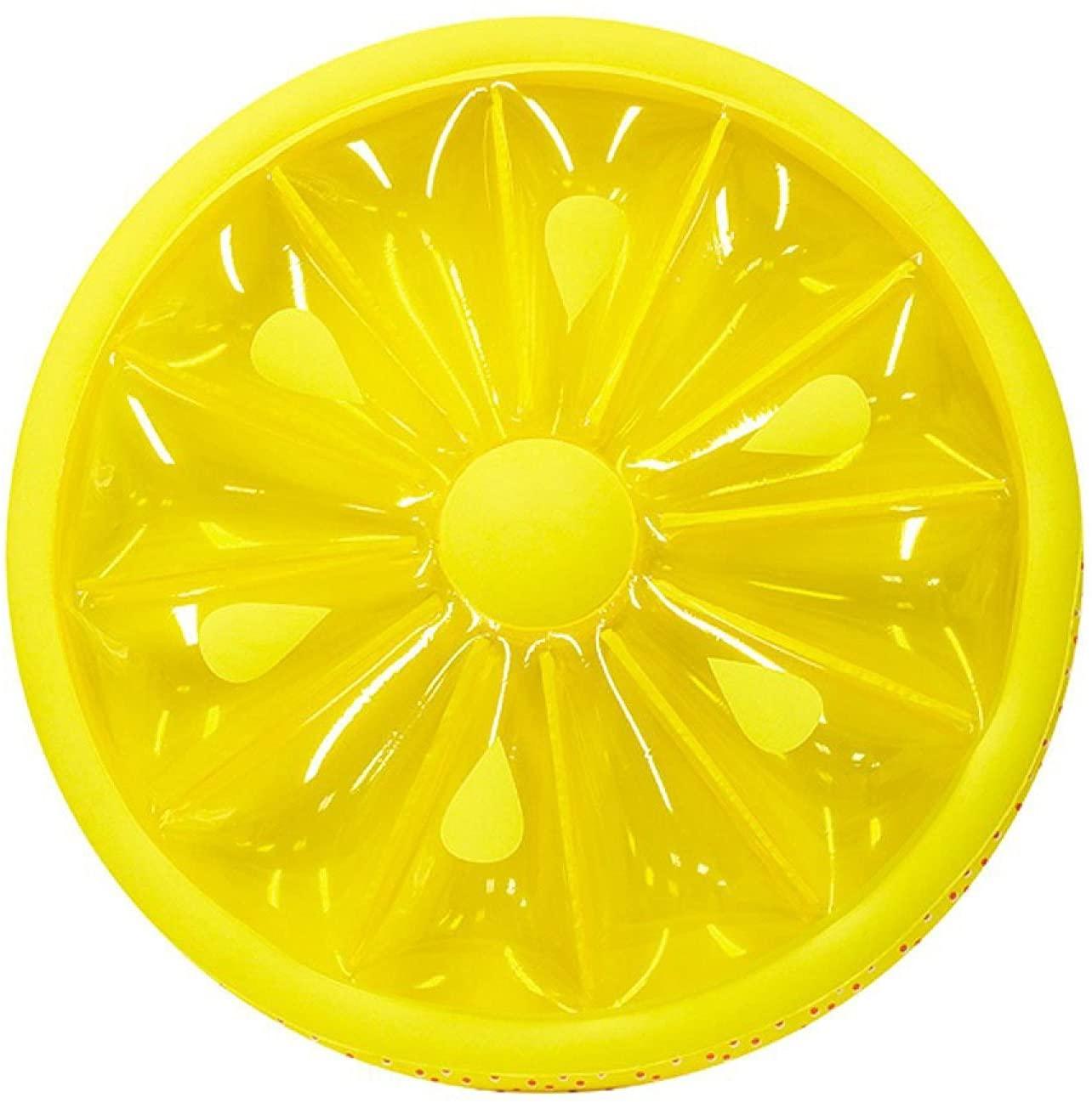 Feeryou Swim Ring Lemon Shape PVC Swim Ring Inflatable Anti-Leakage Anti-Slip Suitable for Adults/Super Strong