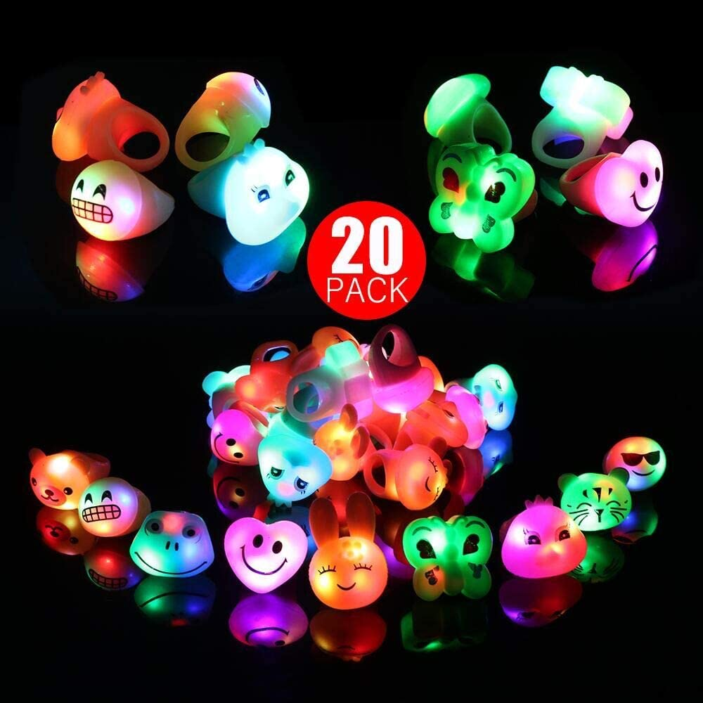 ZJQY Flashing LED Jelly Light Up Rings Party Favors Classroom Prizes