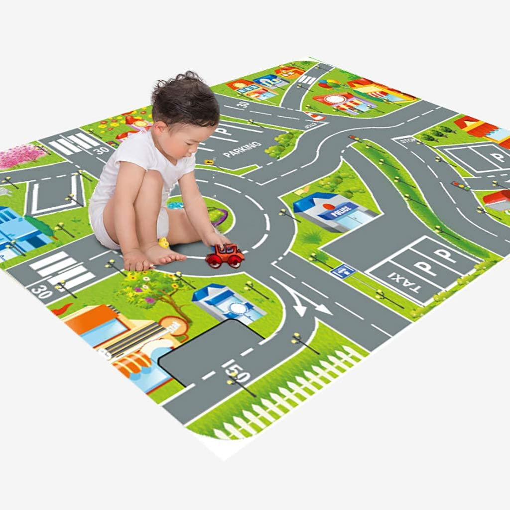 DESHOME Kids Playmat, Educational Road Traffic Carpet, Learn & Have Fun Safely Rug with Playing Cars Toys, for Living Bedroom Nursery Gift