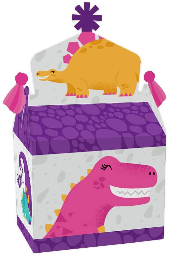 Big Dot of Happiness Roar Dinosaur Girl - Treat Box Party Favors - Dino Mite Trex Baby Shower or Birthday Party Goodie Gable Boxes - Set of 12