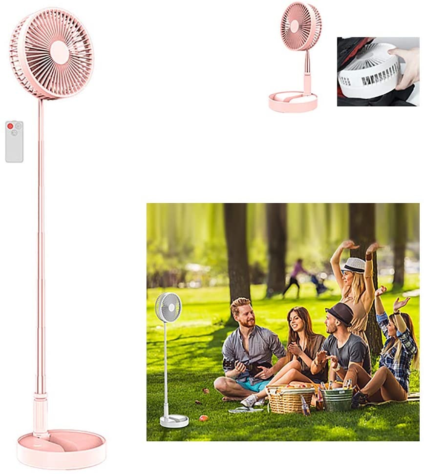 ZEIYUQI 7 Inch Remote Control Fan Height Adjustable Standing Fan Foldable and Portable Floor Fan 4 Speeds for Home Outdoor and Office,Pink