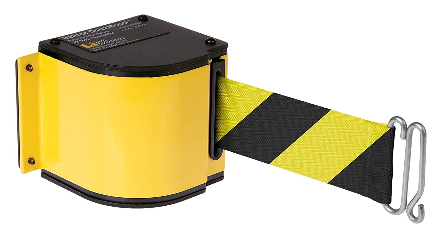 Quickmount, Adjustable Mount 18 Retractable Belt Safety Barrier, Yellow with Safety Hatch Belt
