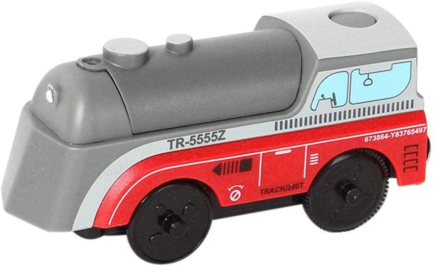 Owlhouse Electric Train Toy, Children's Wooden Railway Electric Train Battery Powered Engine Train, Compatible with All BRIO Train Sets