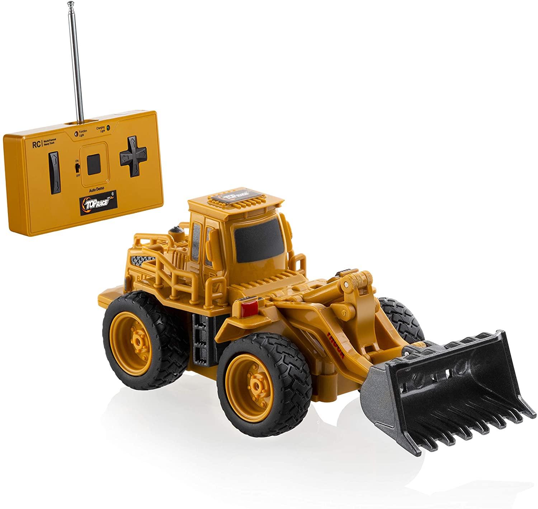 Top Race 4 Channel Mini Remote Control Front Loader Bulldozer 1:64 Scale, Mini Construction Toys Series (TR-013)