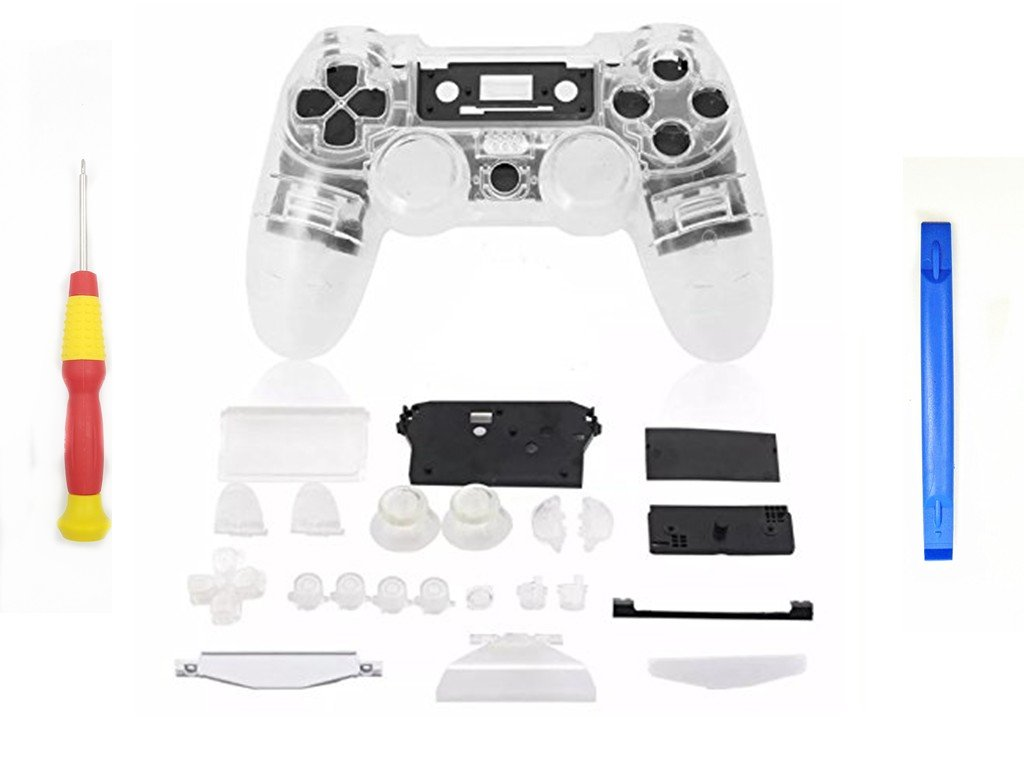 YICHUMY Replacement Clear Full Housing Shell + Buttons for PS4 Playstation 4 Dualshock 4 Replacement Parts PS4 Clear Controller Shell PS4 Controller Repair Kit Ps4 Controller Transparent Shell