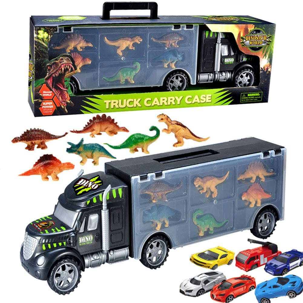 Dinosaur Truck Carrier Toy ,Transport Car Toy for Boys with 6 Mini Racing Cars ,6 Dinosaur Toys-Great for Boys/Girls