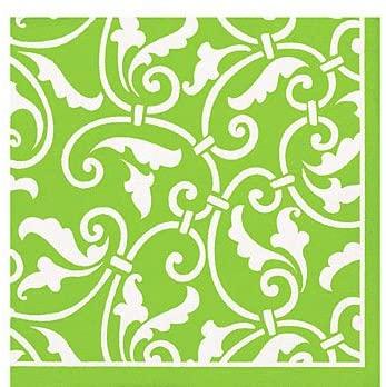 Lime Green Scroll Beverage Napkins - 16 Pack