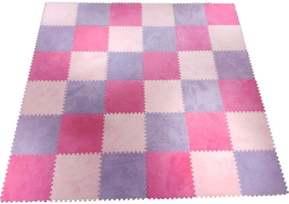 KFDQ Spliced Carpets,Carpet Floor Mat Puzzle Moisture Proof Soundproof Living Room Study Room 3-Color Stitching Floor Mats, Child Crawl Exercise Mat, Purple+Pink+Rose Red,60X60X1Cm,36 Pcs