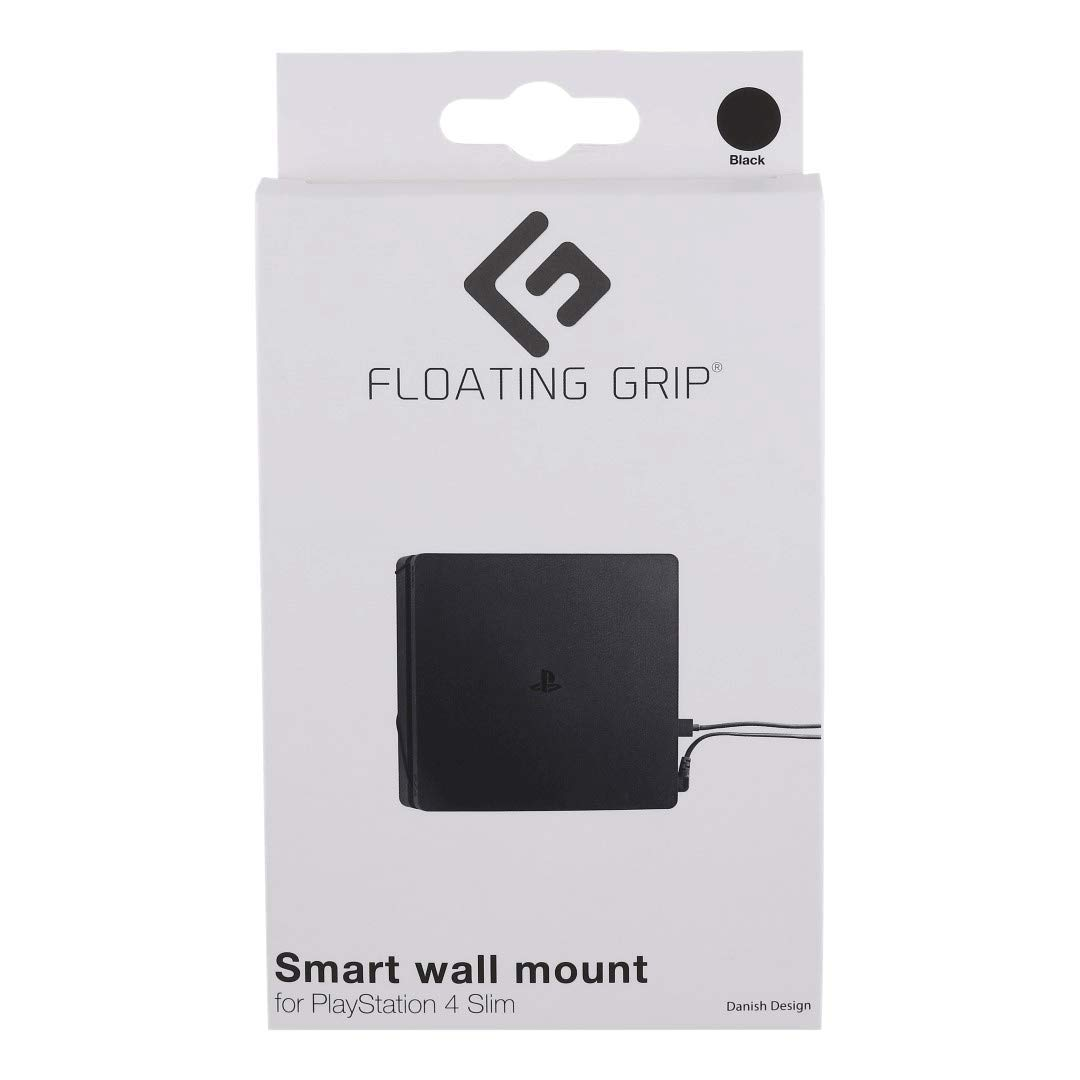 FLOATING GRIP® Wall Mount for PlayStation 4 Slim (PS4 Slim). Color: BLACK. 1x Wall Mount for PlayStation 4 Slim (PS4 Slim). Storage PS4 Slim on the wall right next to your TV or hide it behind.