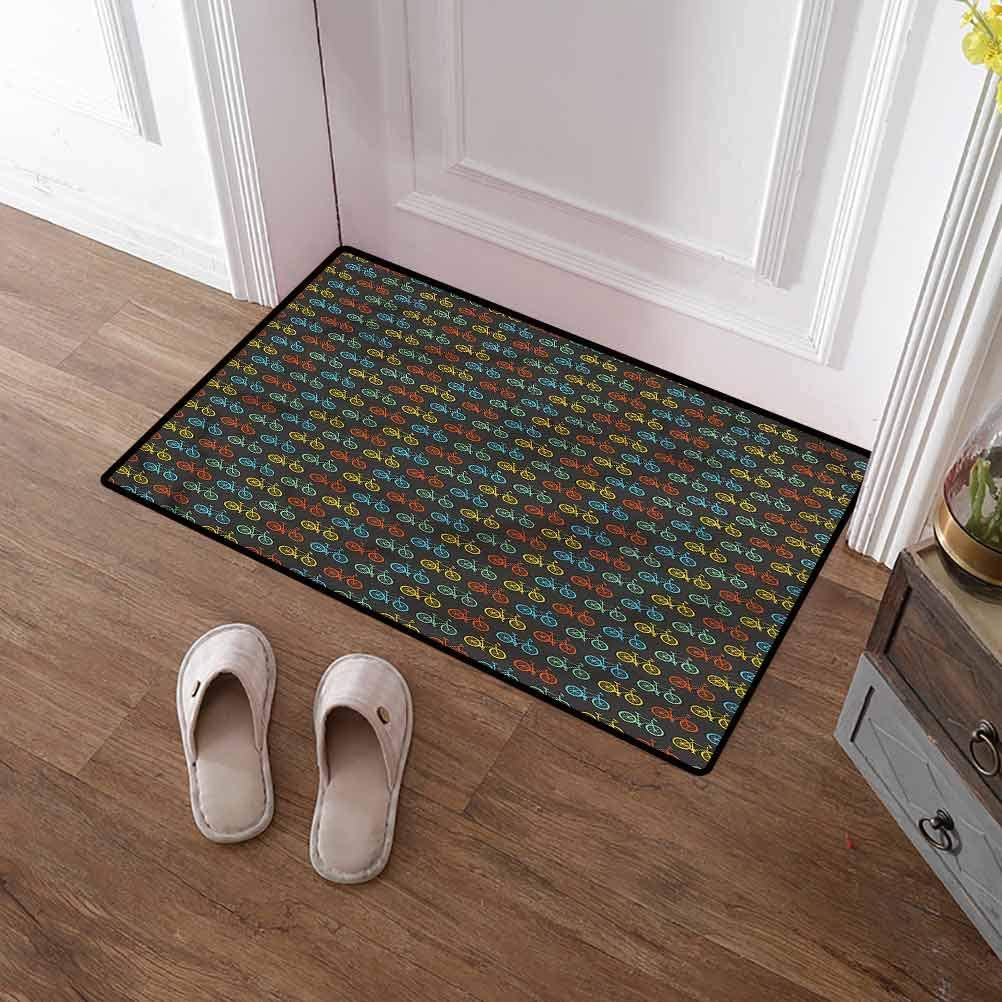 SCOCICI1588 Entryway Rug Bicycle, Boys and Girls Parade Non-Slip Soft Microfiber Doormat Quickly Absorb Moisture and Resist Dirt 16 x 24 Inch