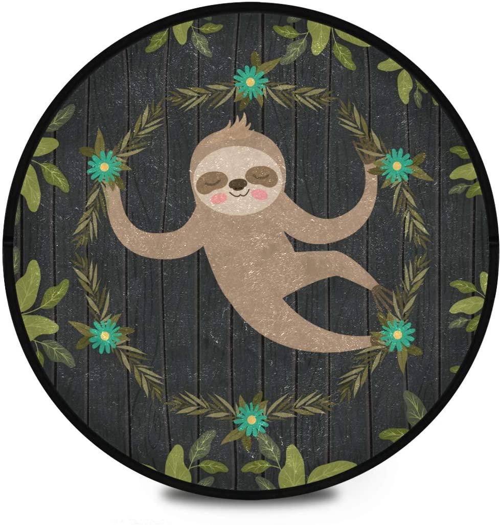 Shaggy Round Mat Sloth Small Round Rug for Kids Playroom Anti-Slip Rug Room Carpets Play Mat