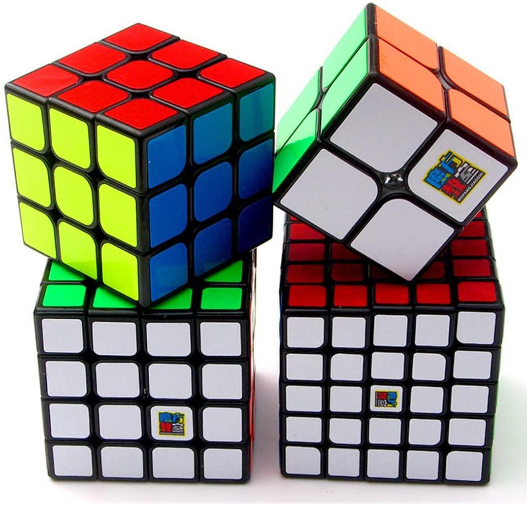 CuberSpeed Speedcubing Bundle MoFang JiaoShi MF2S 2X2 & MF3 3X3 & MF4S 4X4 & MF5 5X5 Black Magic Cube Cubing Classroom Black Speed Cube Set