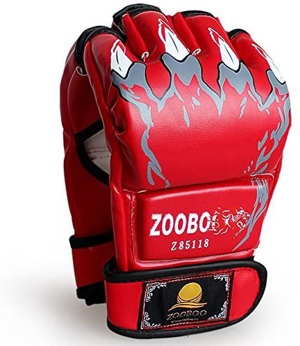 ZooBoo Punching Gloves, Half-Finger Boxing Gloves MMA Mitts with Wrist Band for Sanda Kickboxing Sparring Bag Training (One Size Fits Most)