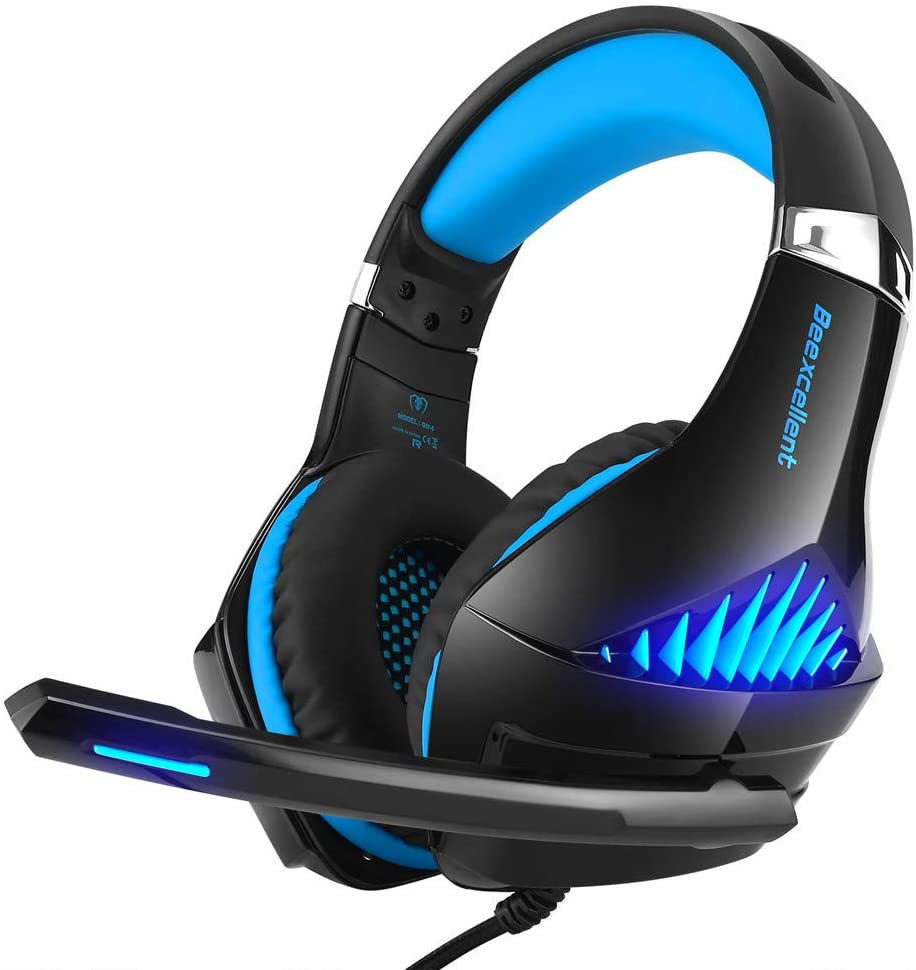 ElecRat Stereo Gaming Headset for PS4,PC,Xbox One,Nintendo Switch,Beexcellent Gaming Over-Ear Headset with Mic, LED Lights, Noise Cancelling, Controller Tablet, Smartphones