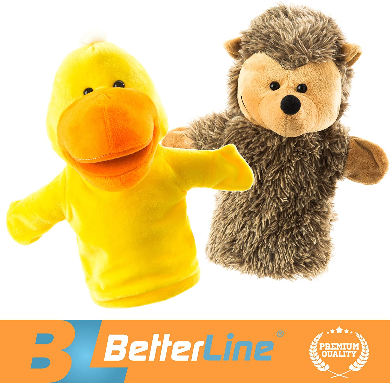 BETTERLINE Animal Hand Puppets Set of 2 Premium Quality, 9.5 Inches Soft Plush Hand Puppets for Kids- Perfect for Storytelling, Teaching, Preschool, Role-Play Toy Puppets (Duck and Hedgehog)