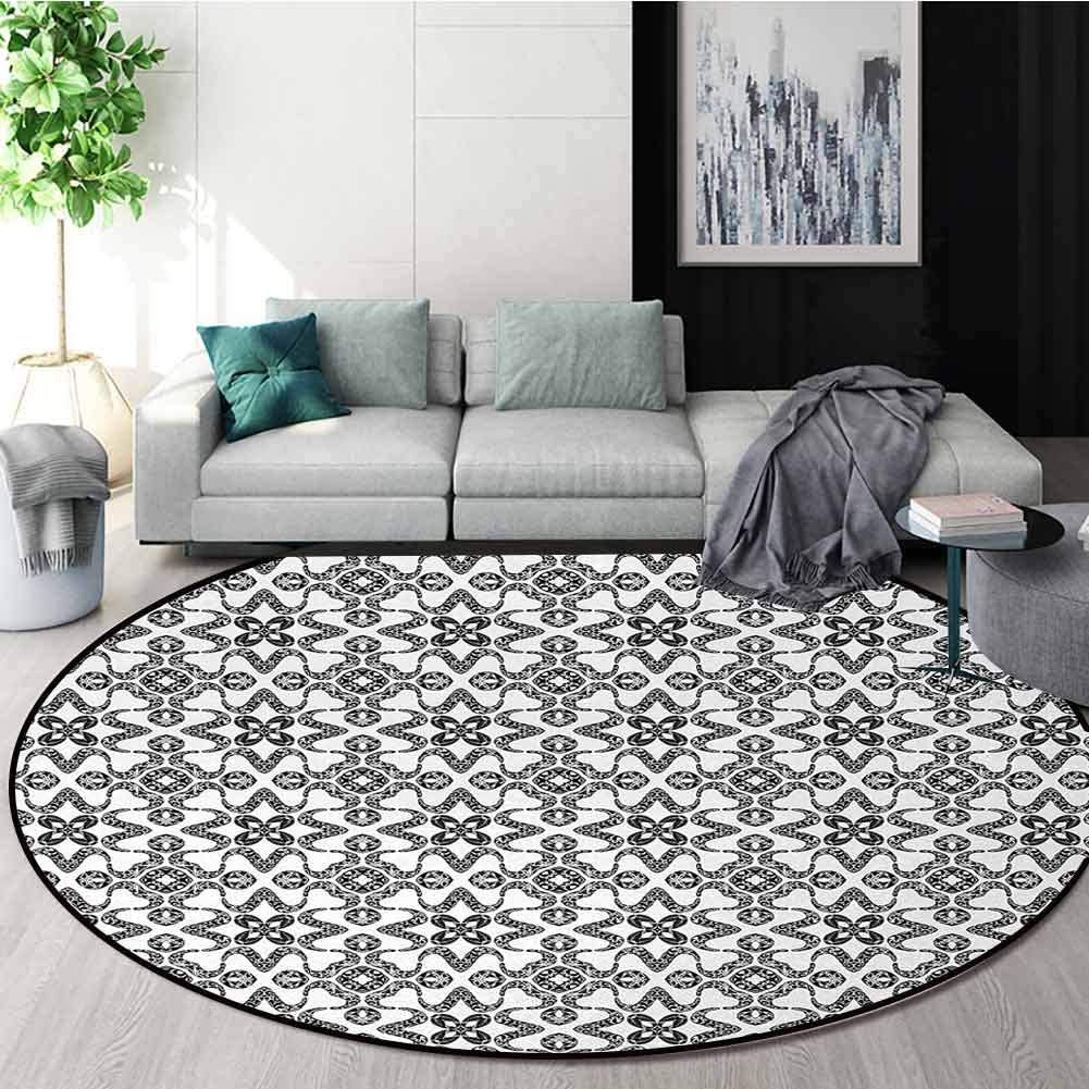 Black And White Machine Washable Round Bath Mat,Portuguese Azulejo Tiles Pattern With Monochrome Flowers European Design Non-Slip No-Shedding Bedroom Soft Floor Mat Round-39 Inch,Black White